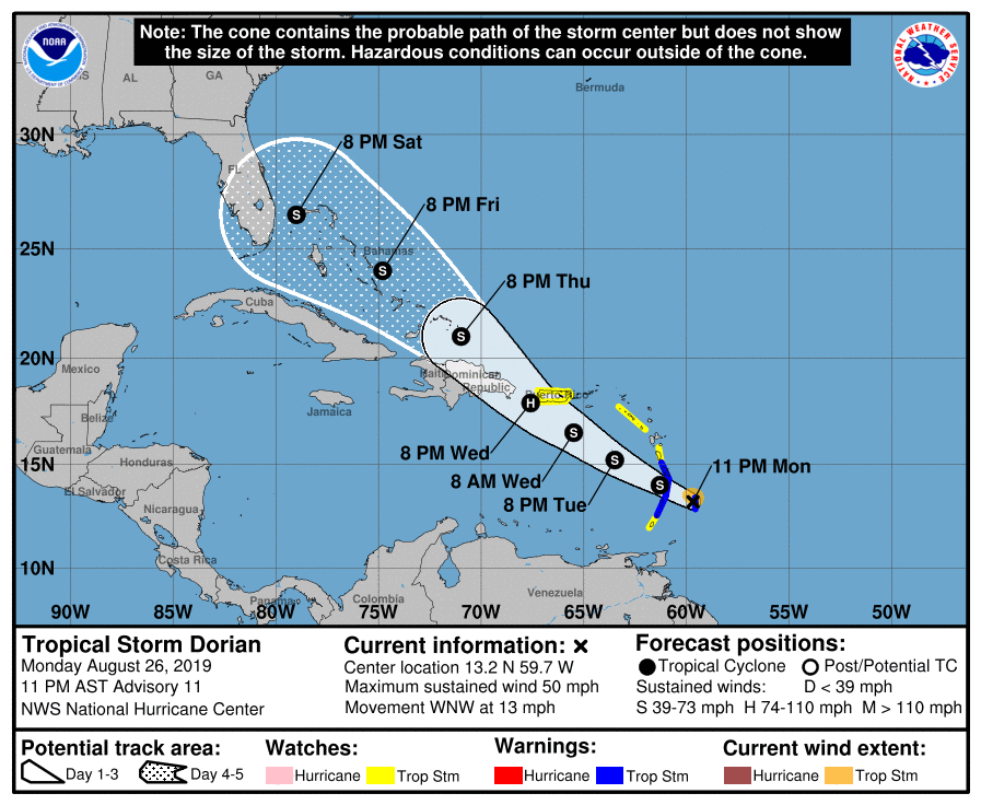 Tropical Storm Dorian Cruise Itinerary Changes