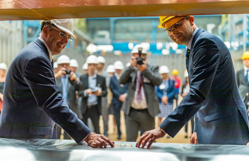 Spirit of Adventure cruise ship keel laying