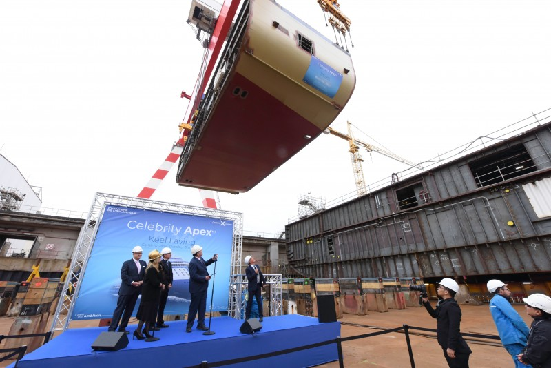 Celebrity Apex cruise ship keel laying