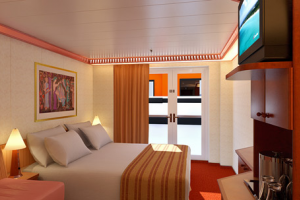 Carnival Legend Interior With French Door Obstructed Views Room - What is obstructed view on a cruise ship